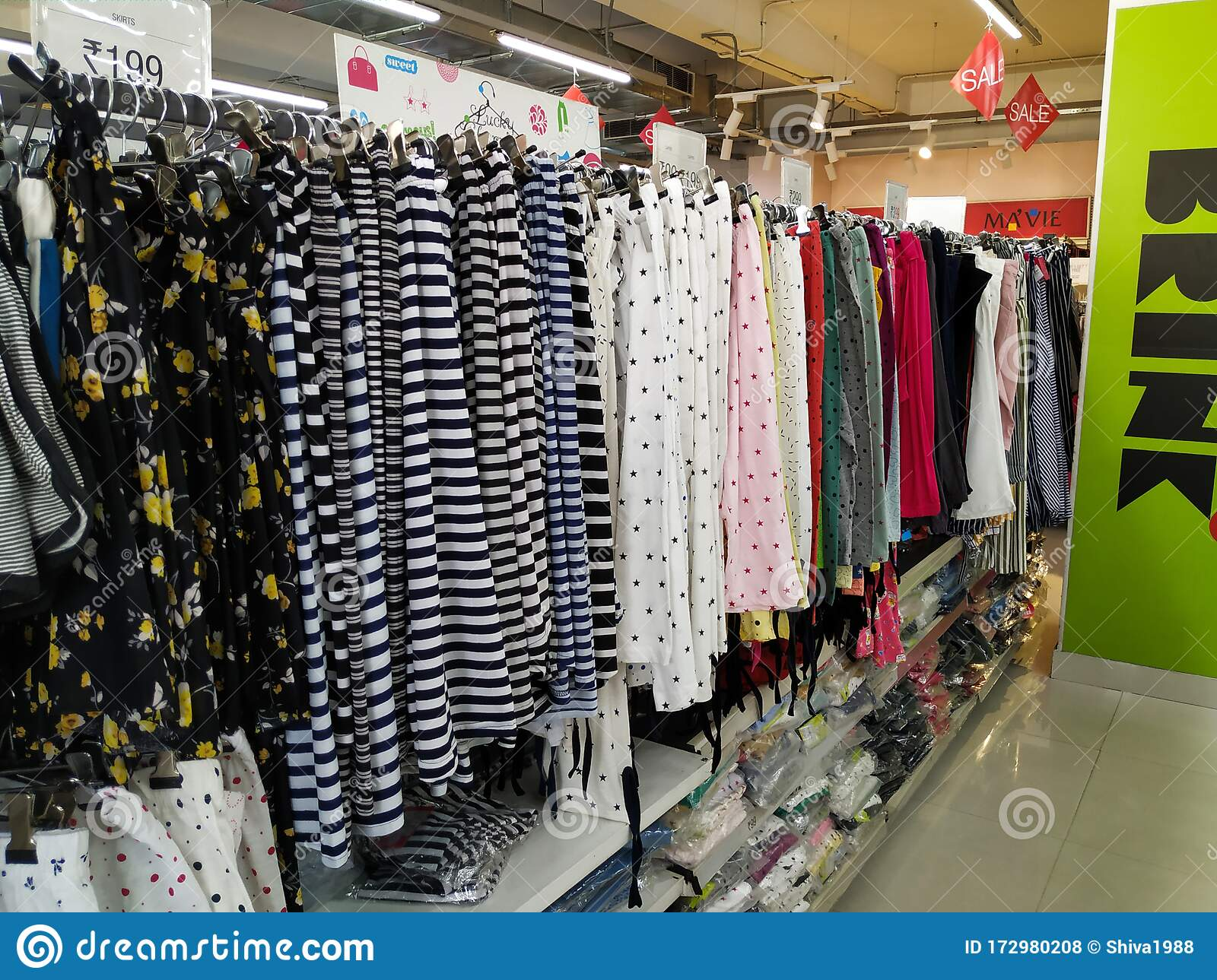 Ladies External Top Wear Dresses And Costumes Sales In A Store Or In Vishal Mall Interior Design Of A Textile Shop Editorial Stock Photo Image Of Design Cloth 172980208
