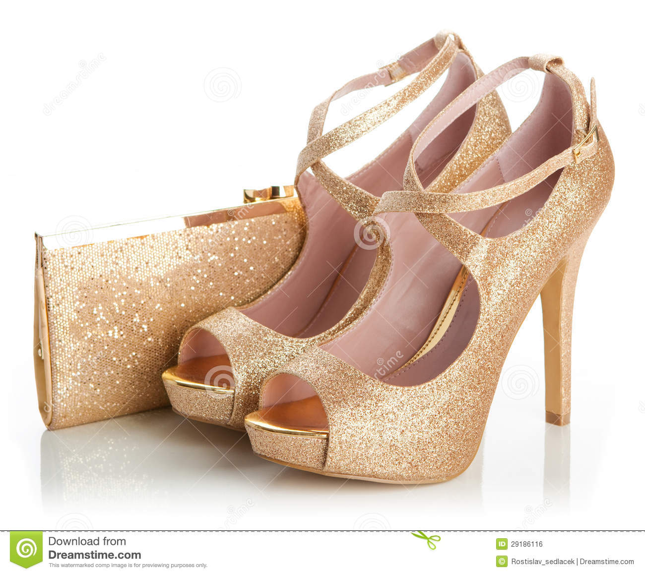Ladies Gold Shoes And Bag Royalty Free Stock Image Image