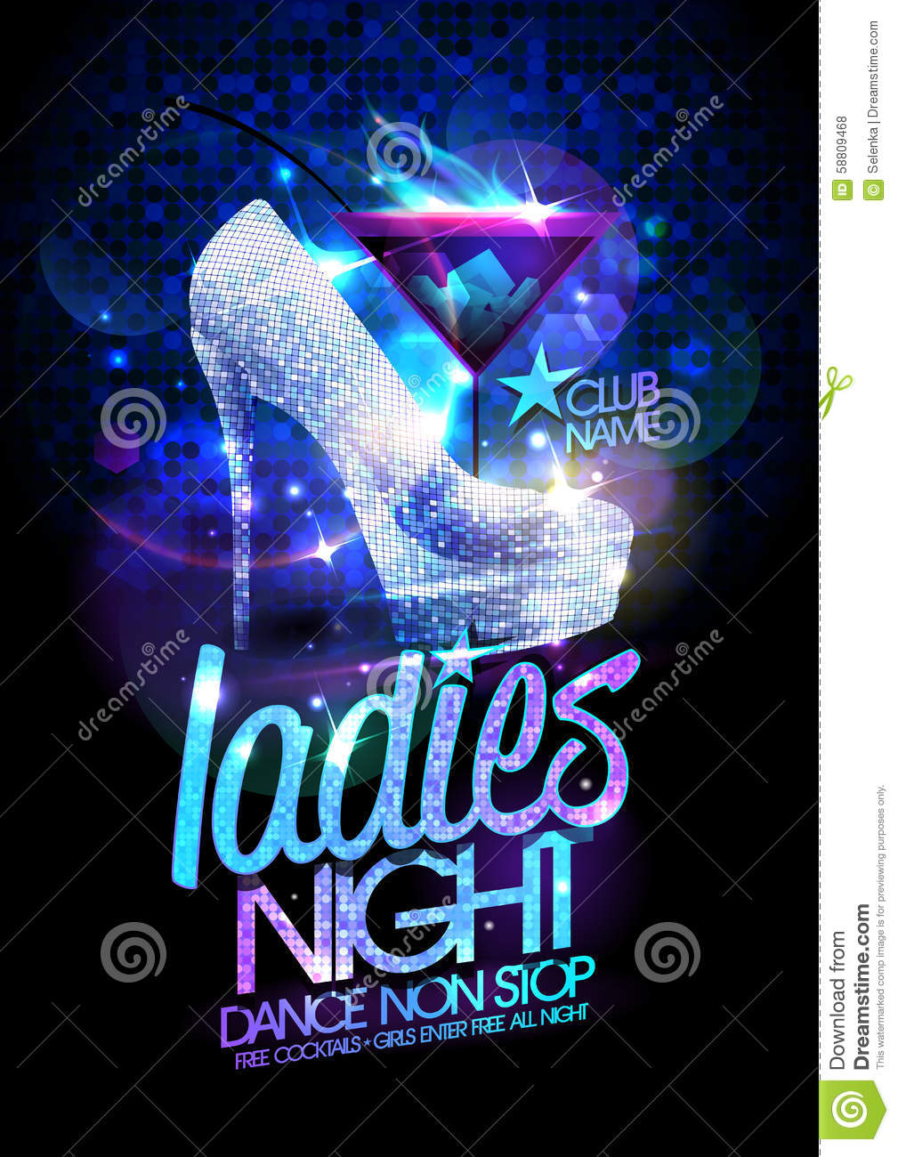 Ladies Night Poster Illustration With High Heeled Diamond
