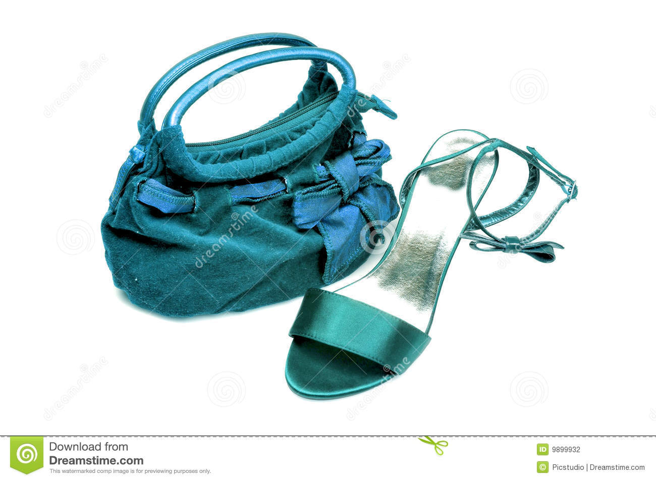 Ladies purse and sandle isolated on white background