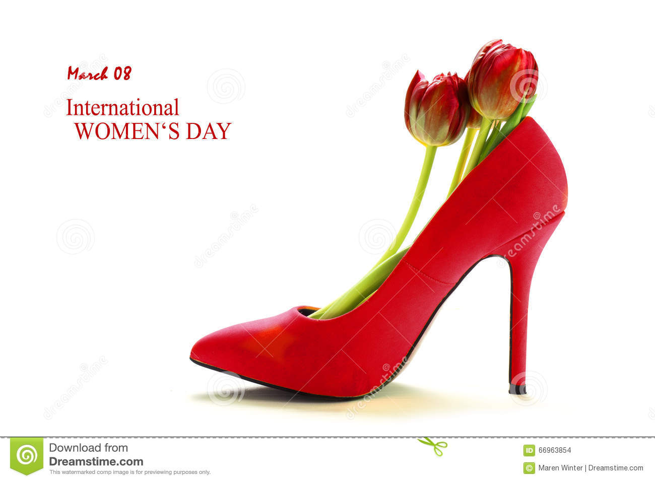 11e837b8bcc Ladies Red High Heel Shoe With Tulips Inside, On White, Stock Photo ...