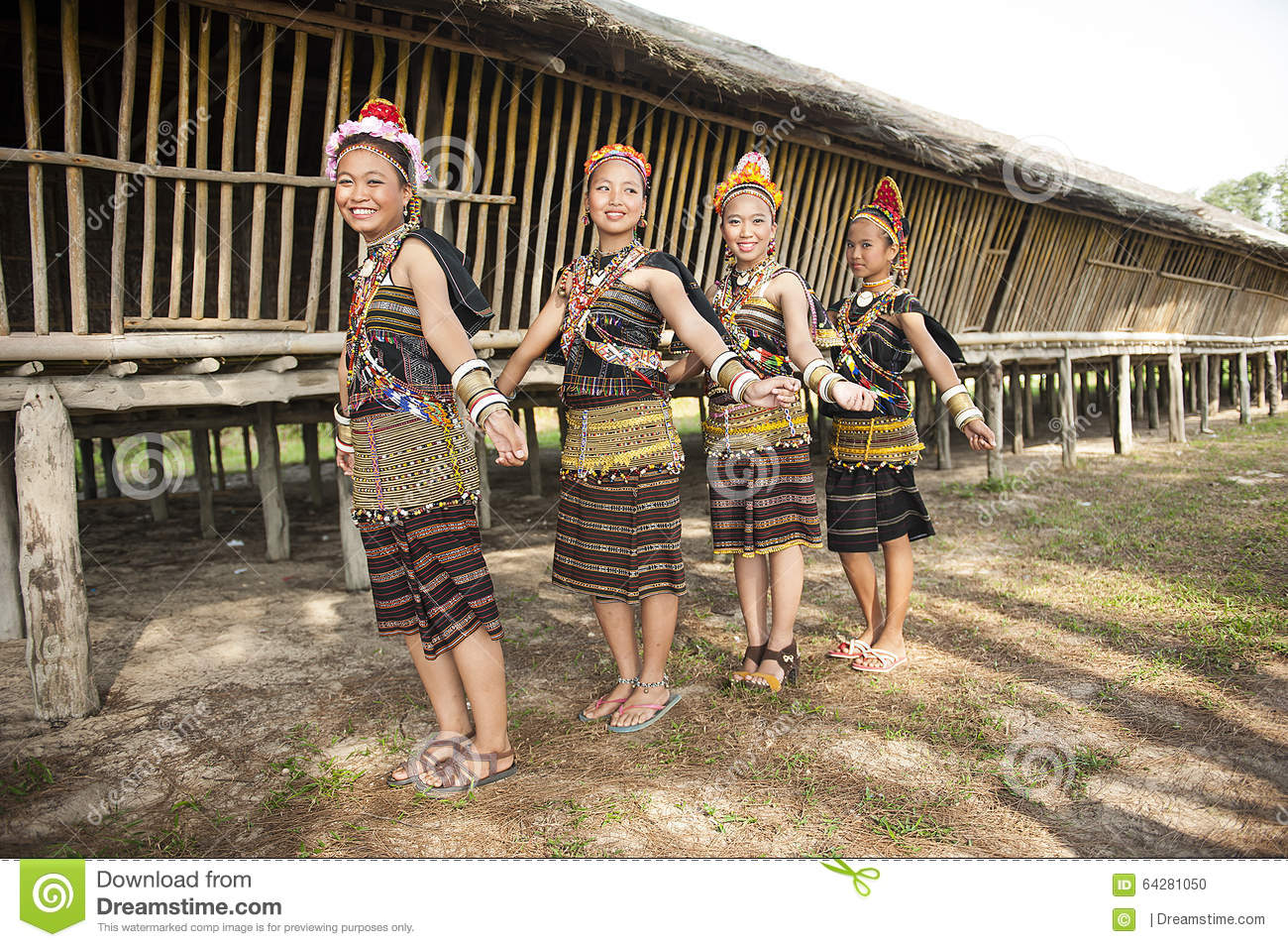 Ladies from Rungus ethnic wearing traditional costume.