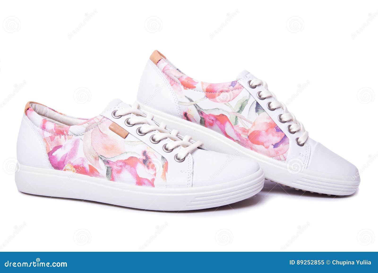grande varietà migliore qualità per completo nelle specifiche Ladies sneakers on a white stock image. Image of shoelace - 89252855