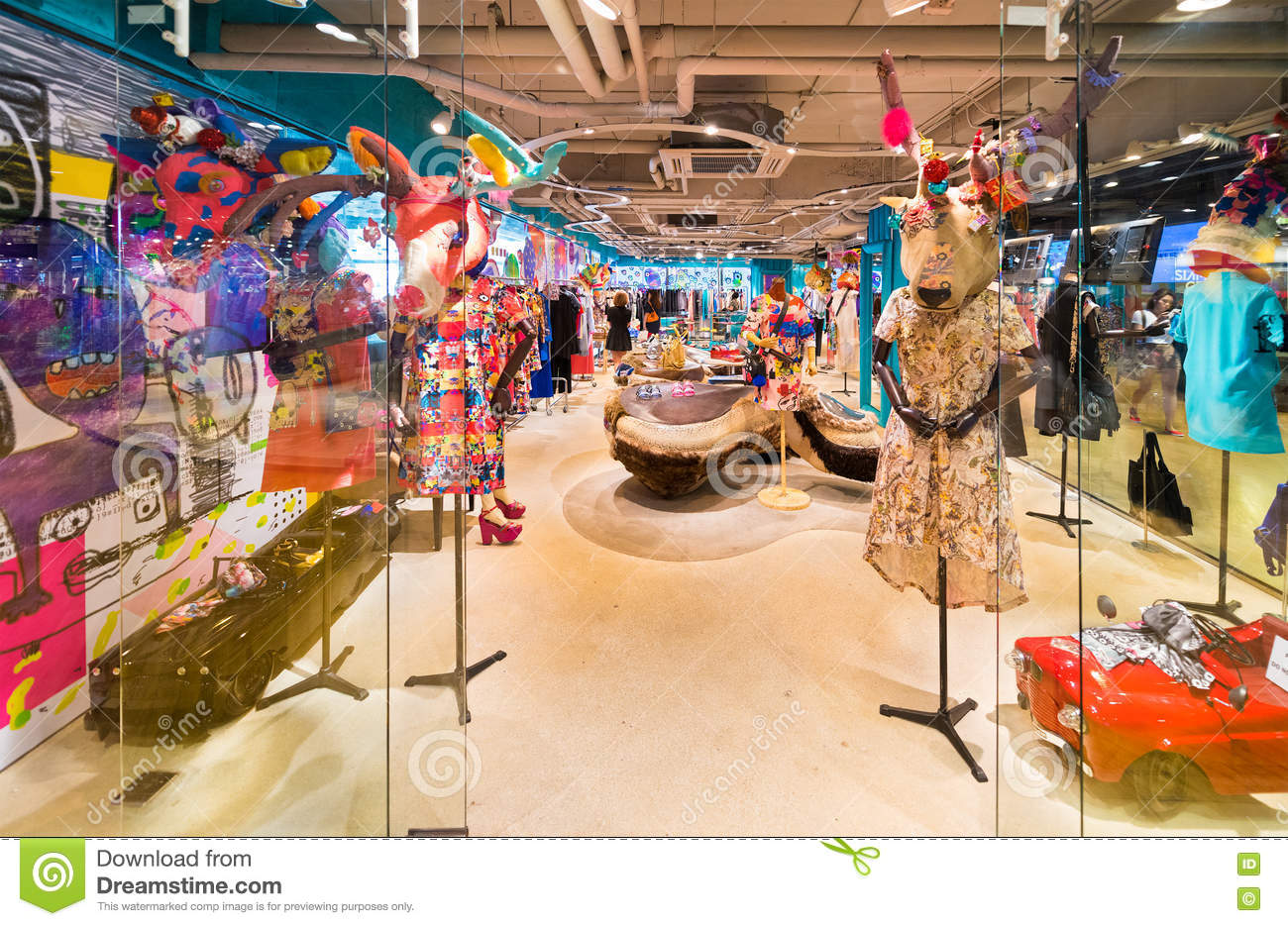 babb7b4352 BANGKOK - MARCH 17, 2016: A view at a ladies clothing store with unusual  mannequins having deer heads. It is located in the Siam Center (built in  1973), ...