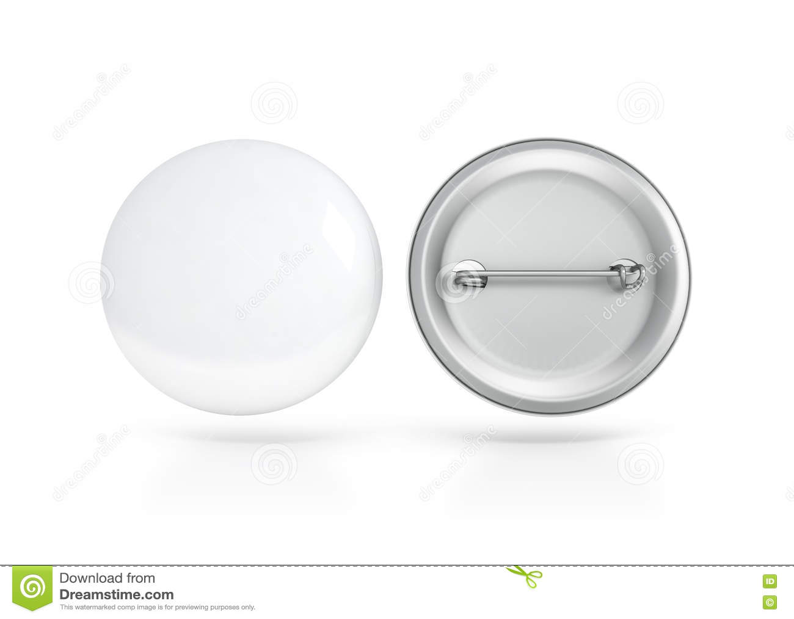 Lado blanco en blanco de la maqueta de la insignia del botón, delantero y trasero, trayectoria de recortes
