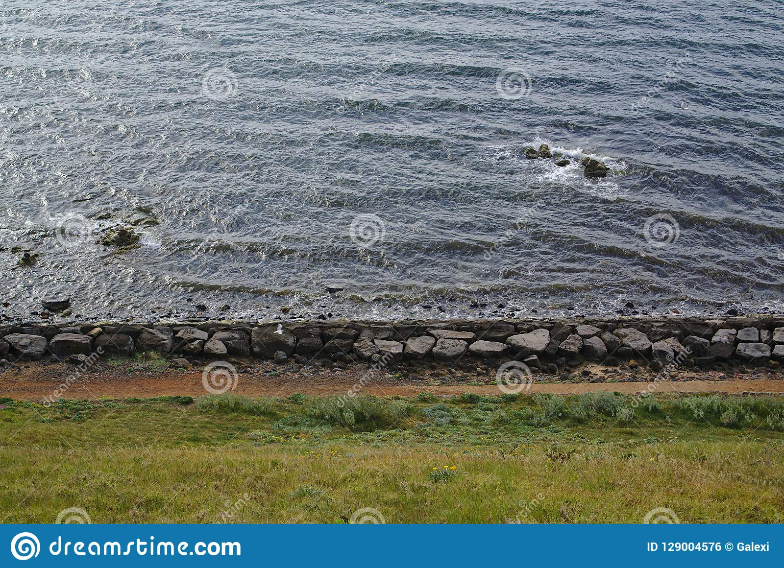 Lado de la playa con las piedras grandes y la hierba verde
