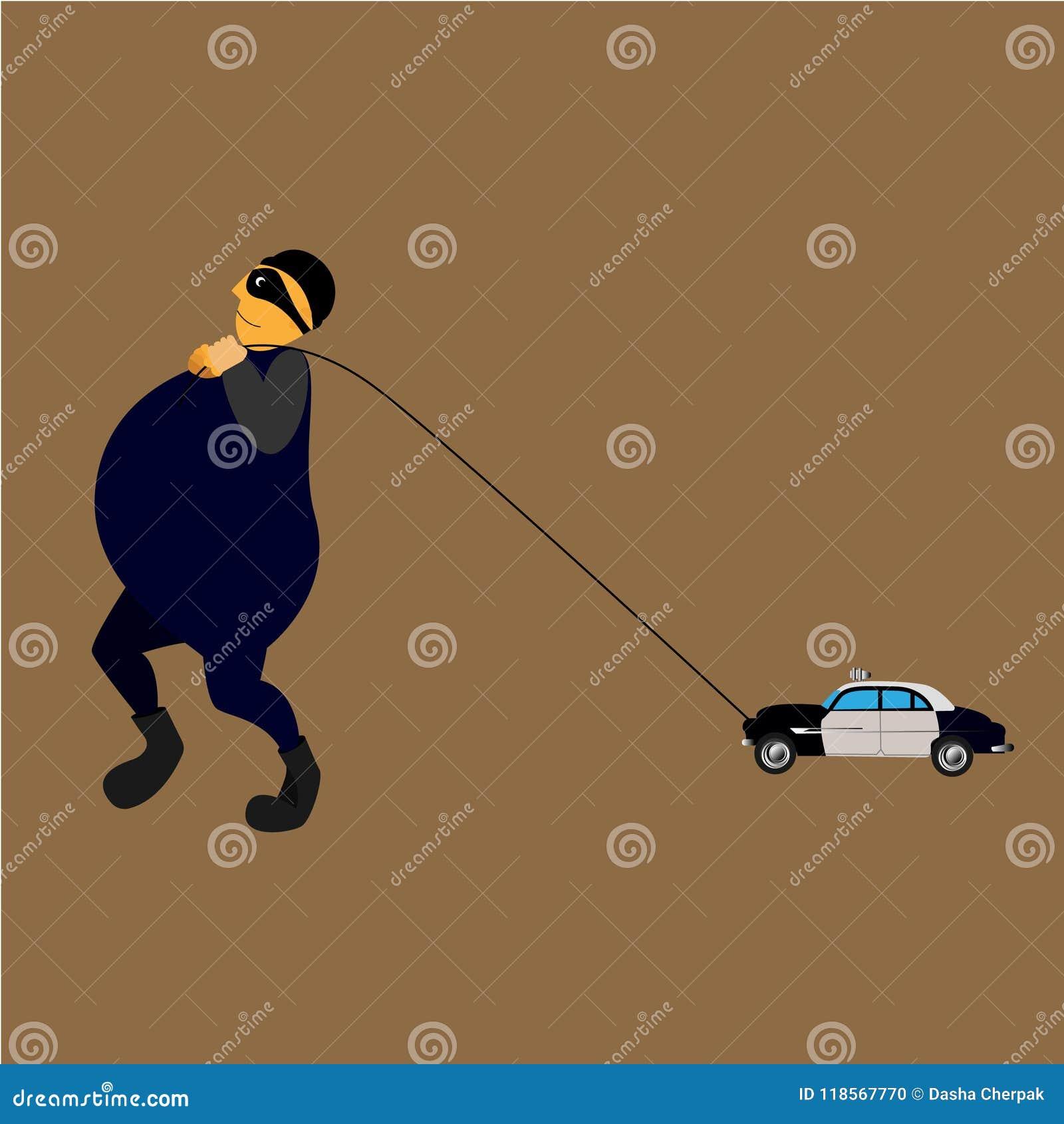 De Un Ladrón Ejemplo Ilustración Del Coche Juguete Vector PTXZOiuwk