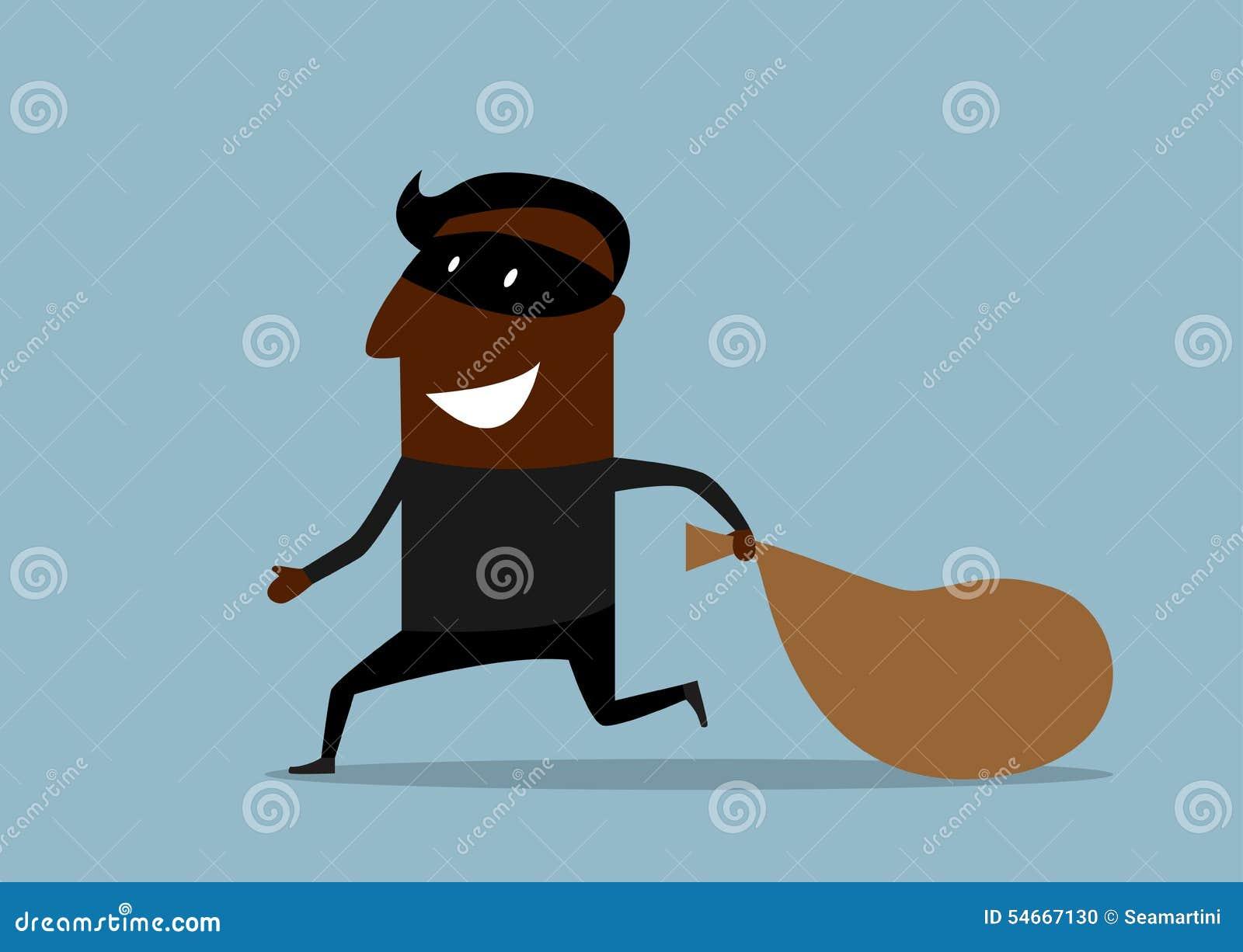 Ladrón negro que corre con el saco de botín