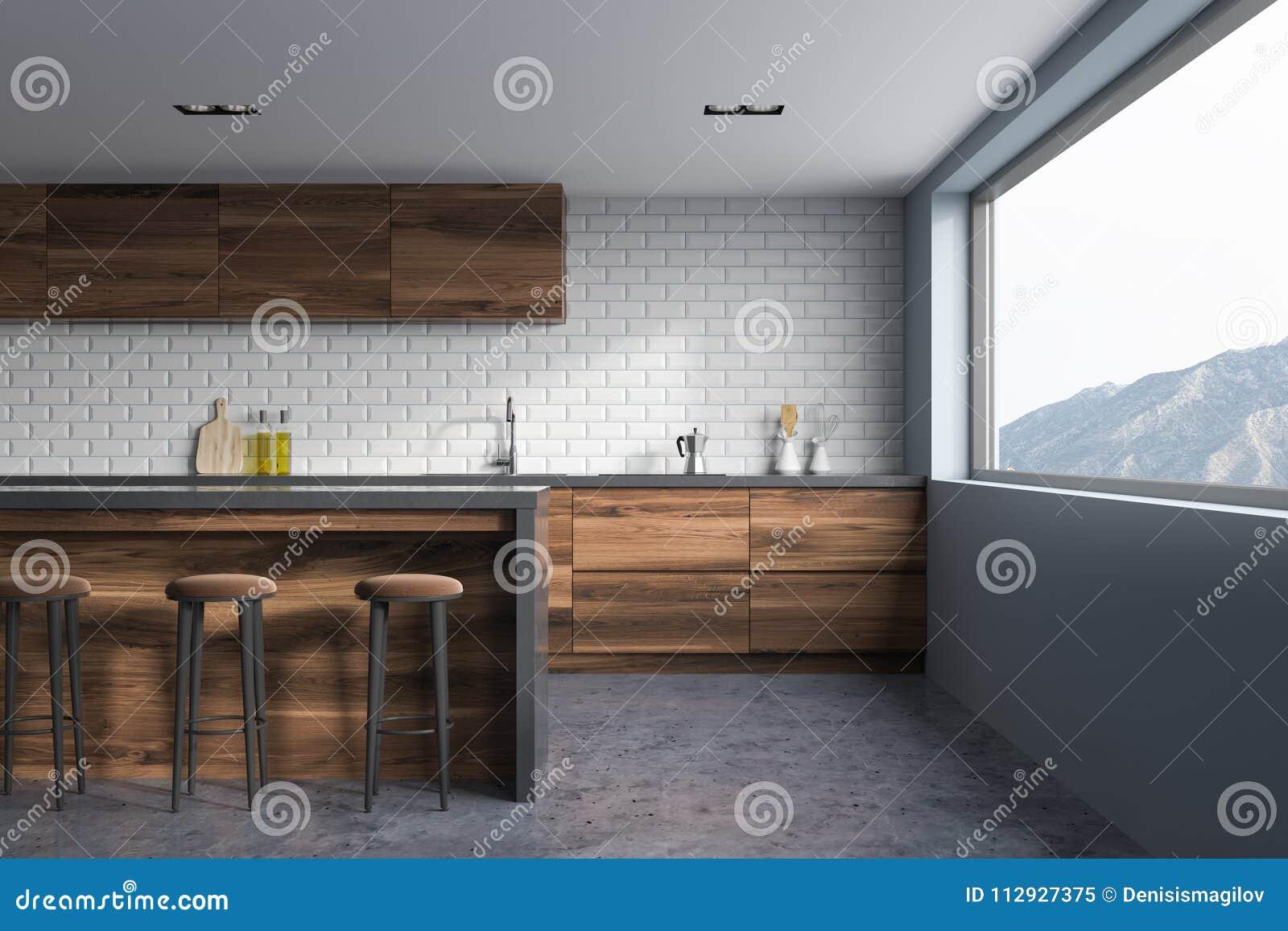 Ladrillo Blanco Y Cocina Gris Interiores Barra De Madera Stock De