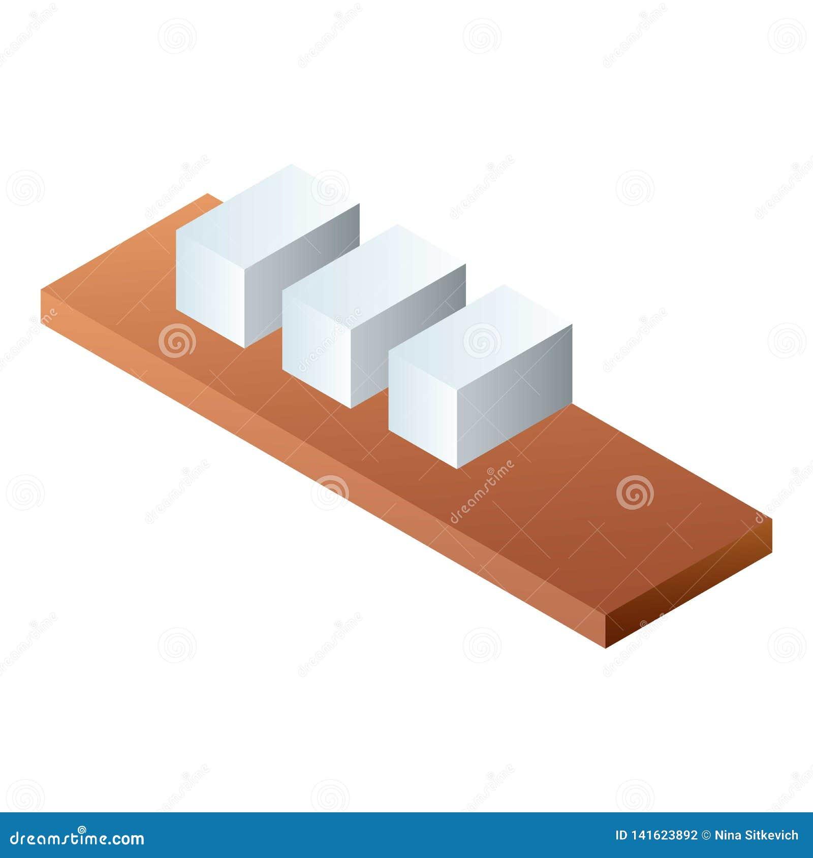 Ladrillos en el icono de madera del estante, estilo isométrico