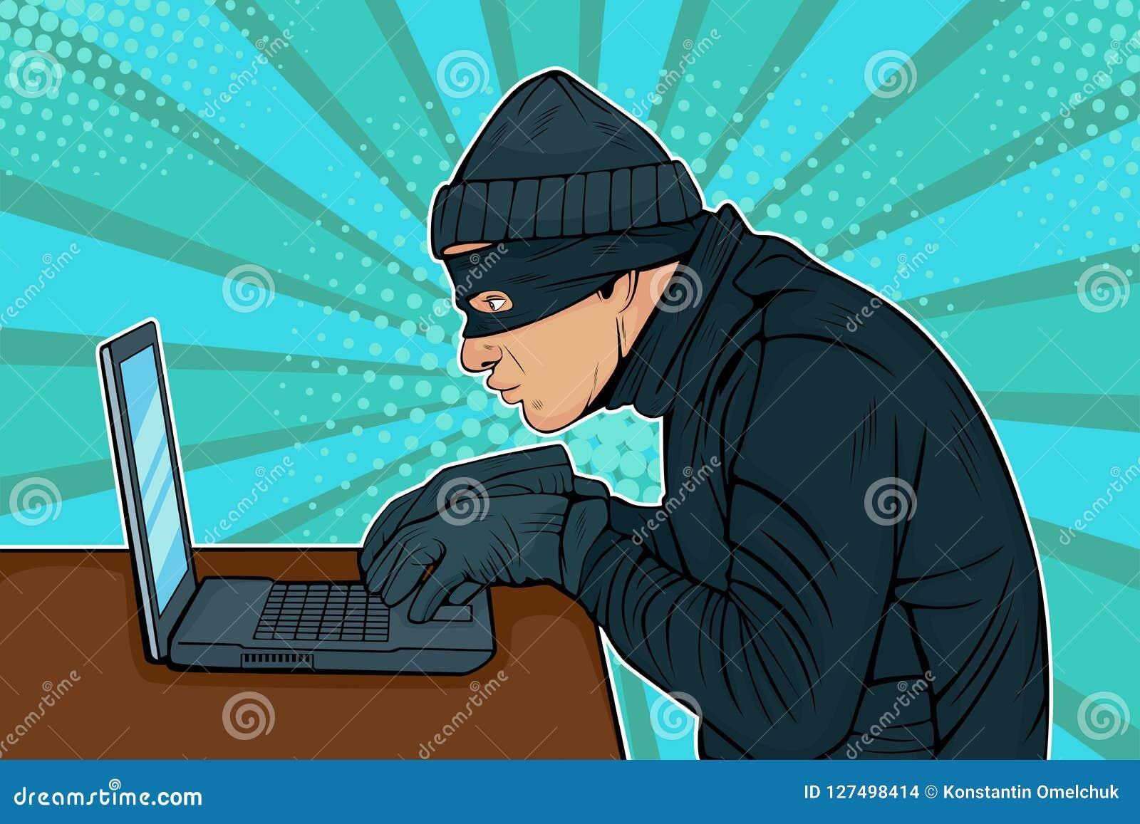 Ladro del pirata informatico di Pop art che incide in un computer
