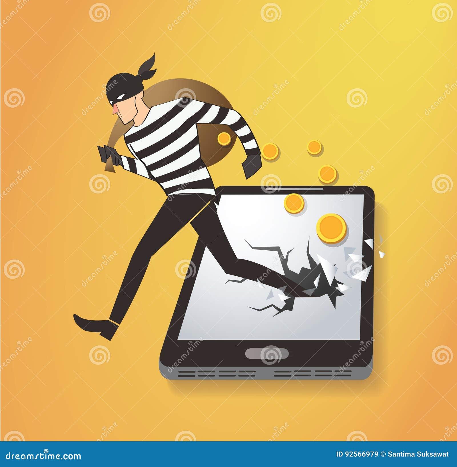 Ladro Hacker Stealing Money sullo Smart Phone