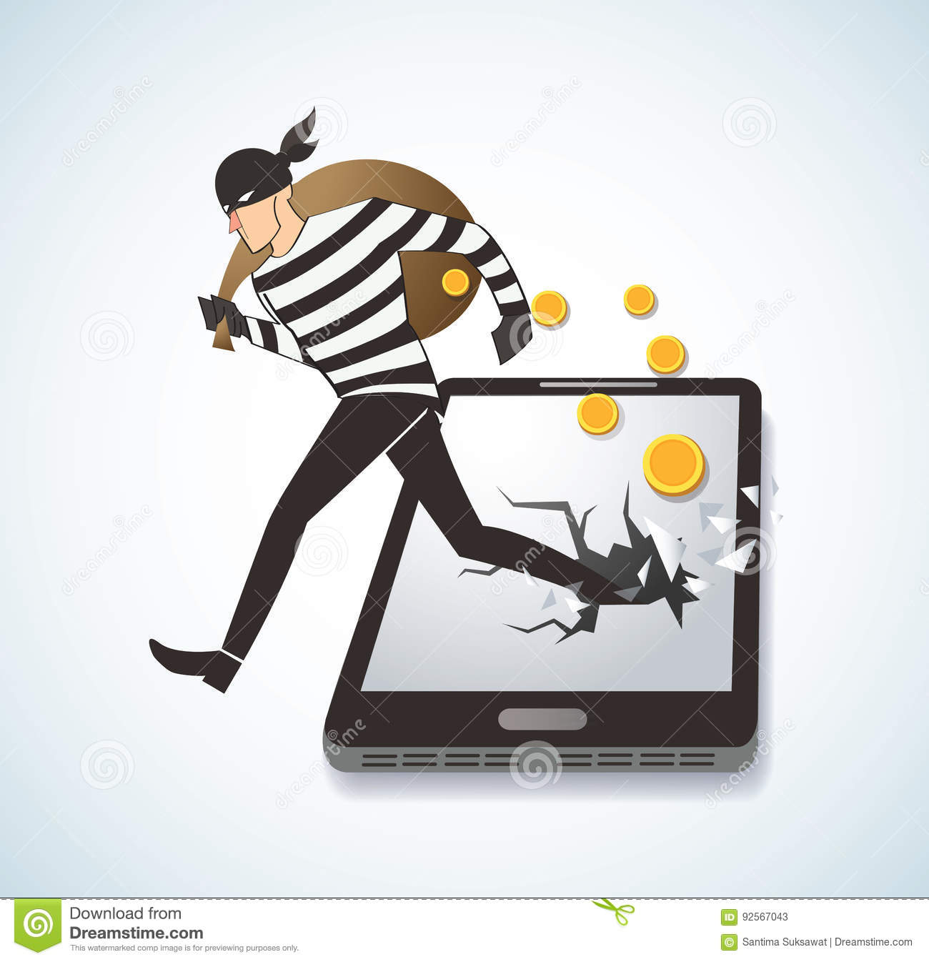 Ladro Hacker Stealing Money sullo Smart Phone