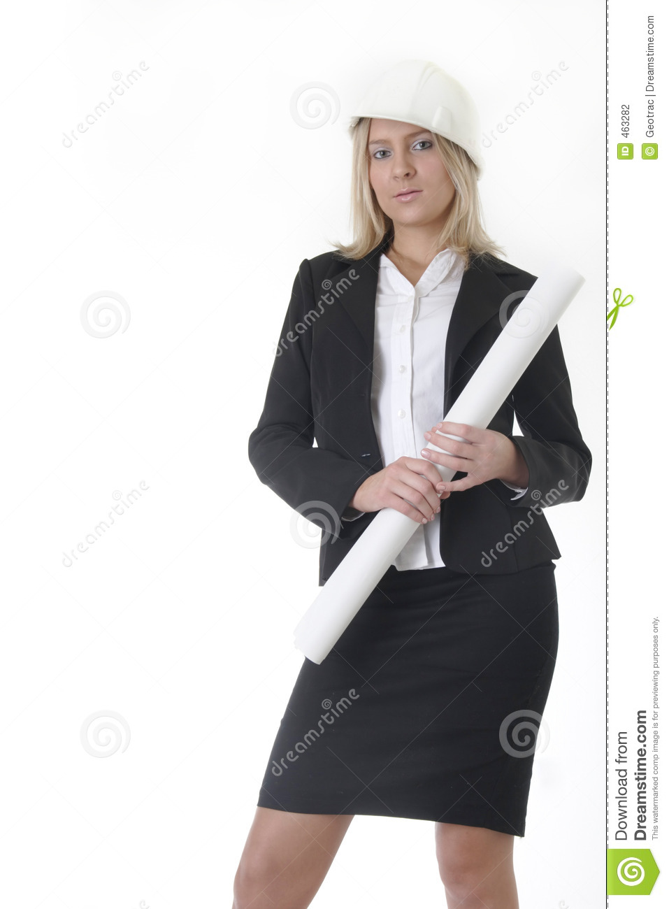 Download Lady Architect Holding Rolled Up Blueprints Stock Photo - Image of plans, helmet: 463282