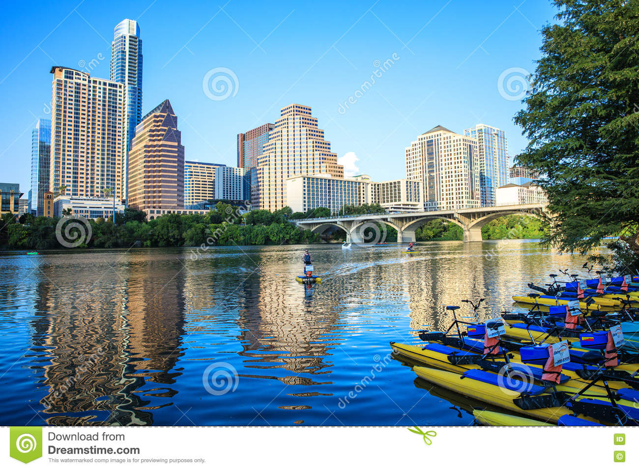 Boats For Rent On The Lady Bird Lake In Austin, Texas Downtown.