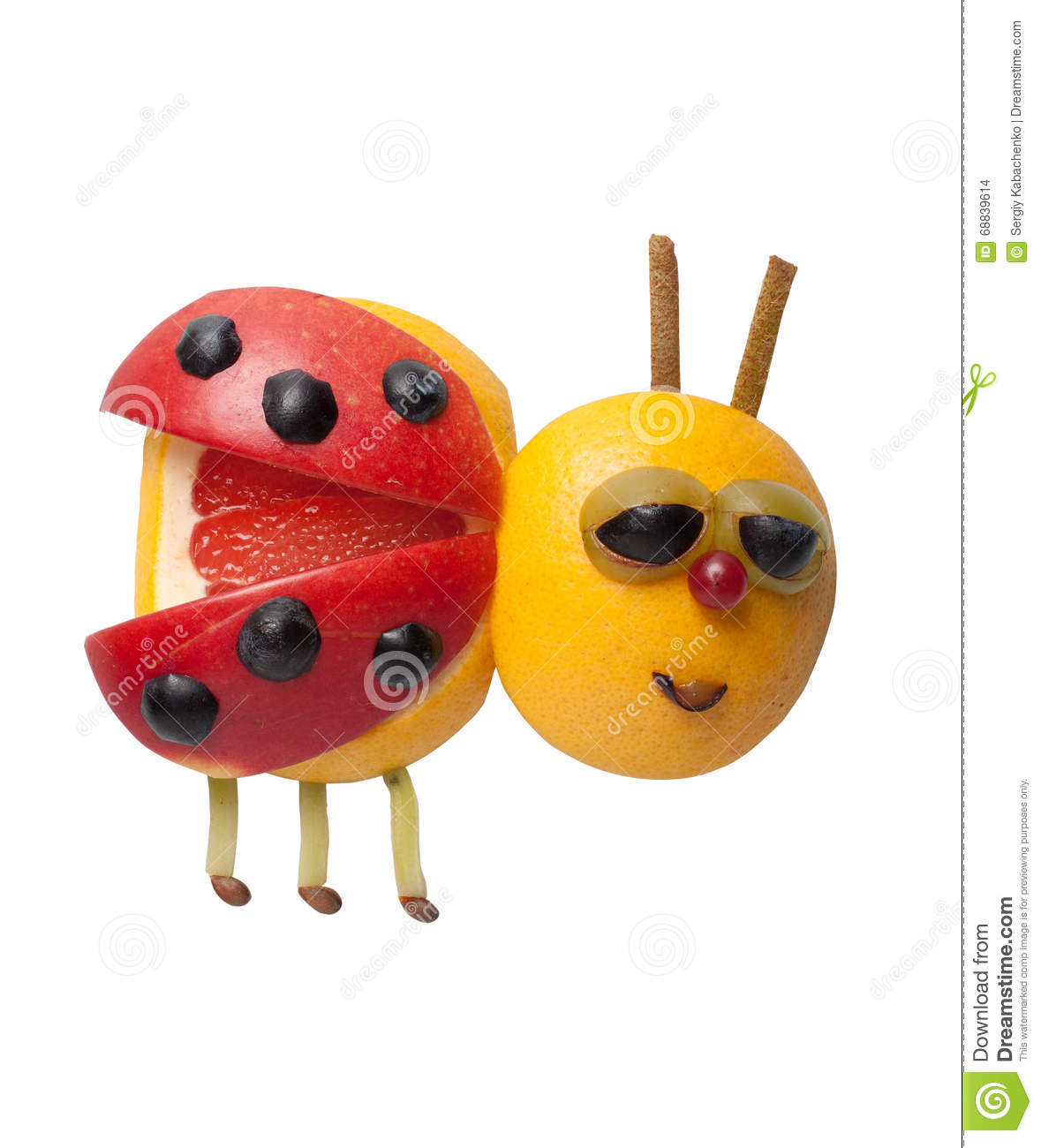 Lady bird made of fruits