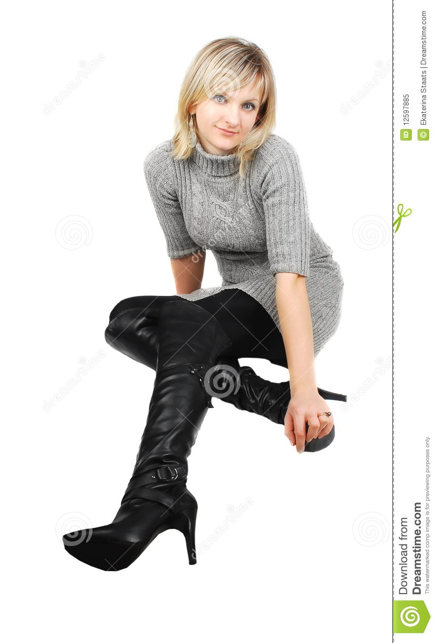 1bc0b9a2424 Lady in black boots. stock image. Image of faces