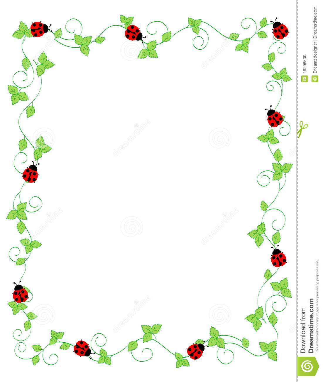 Cute colorful ladybugs frame on white background.