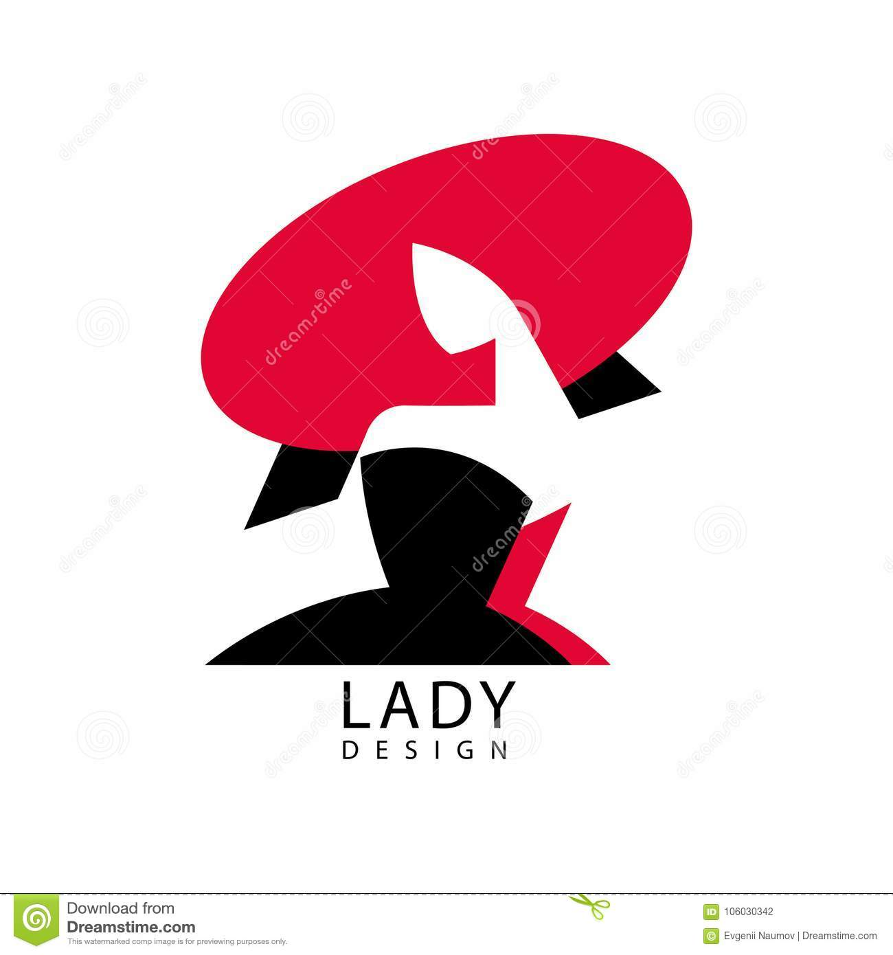 Lady Design Logo, Red And Black Fashion And Beauty Emblem