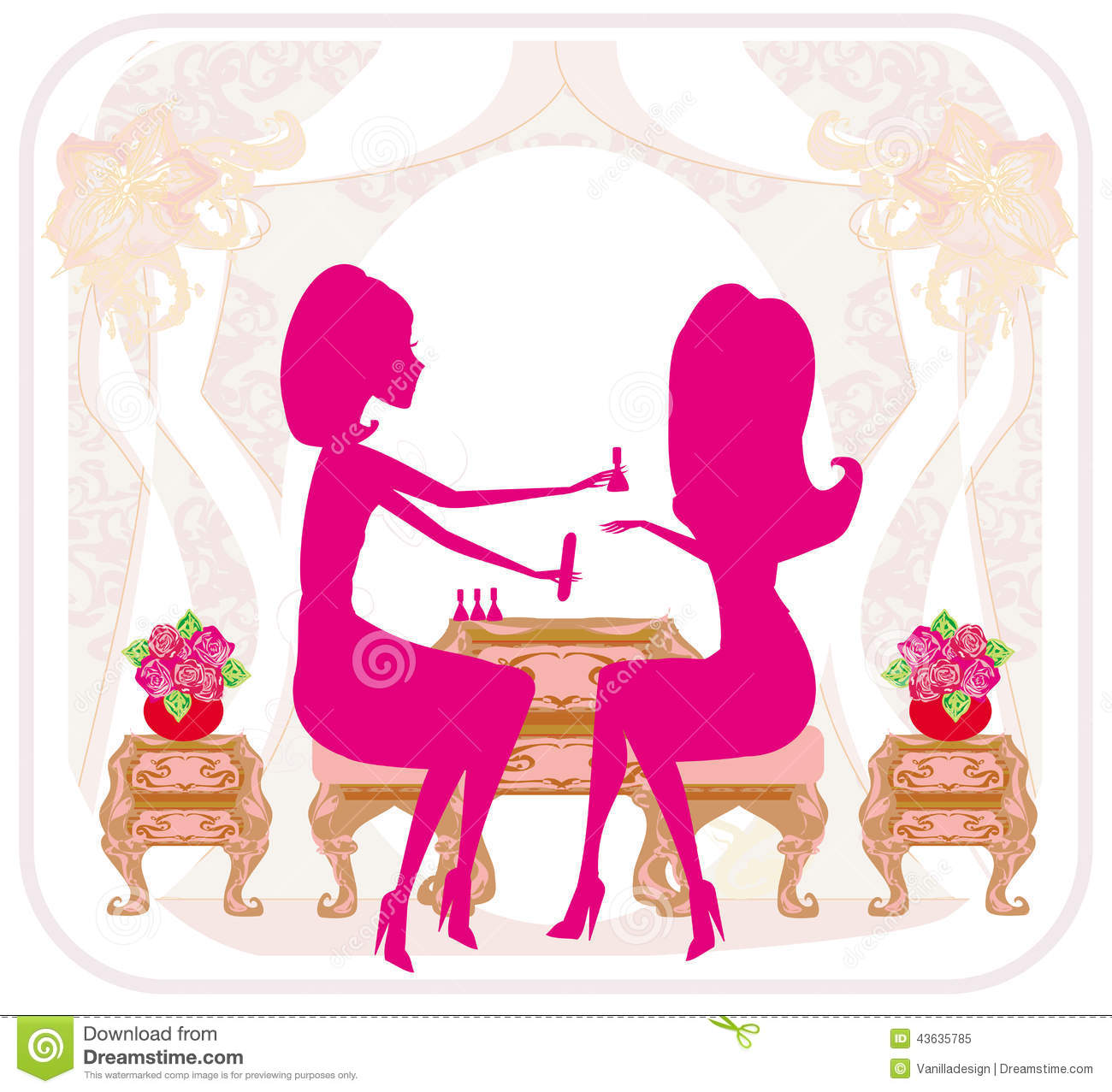 Lady doing manicure in beauty salon abstract card stock for Abstract beauty salon