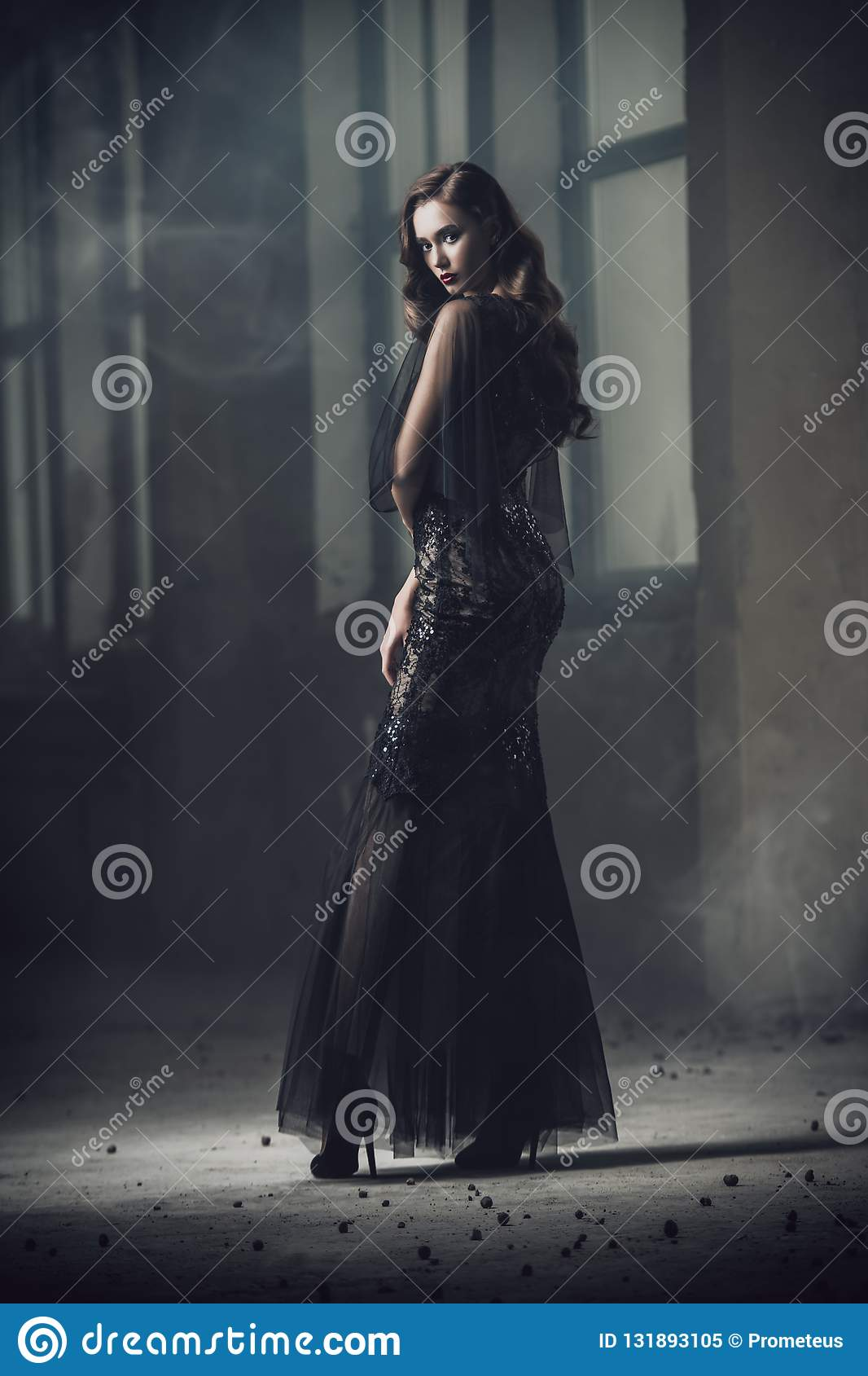 Lady in empty building