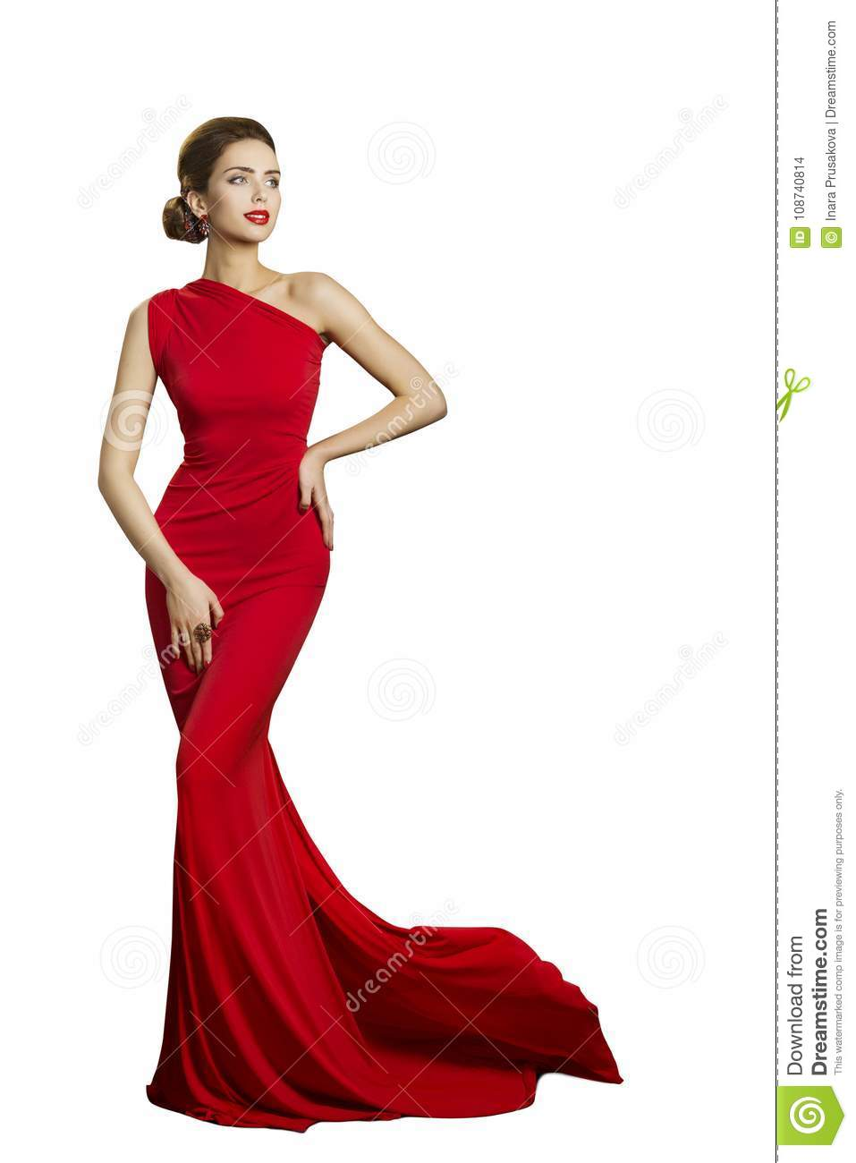 Lady Evening Dress, Elegant Woman in Long Gown, Fashion Tail