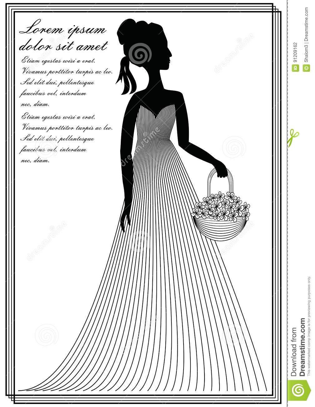 Flower Basket Line Drawing : Crinoline cartoons illustrations vector stock images