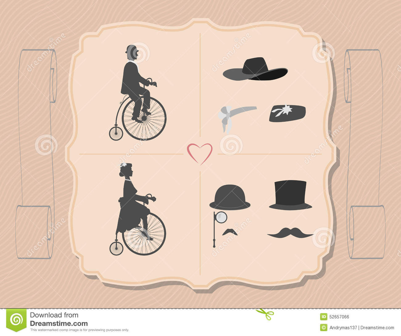 the lady and gentleman on cycling stock vector illustration of