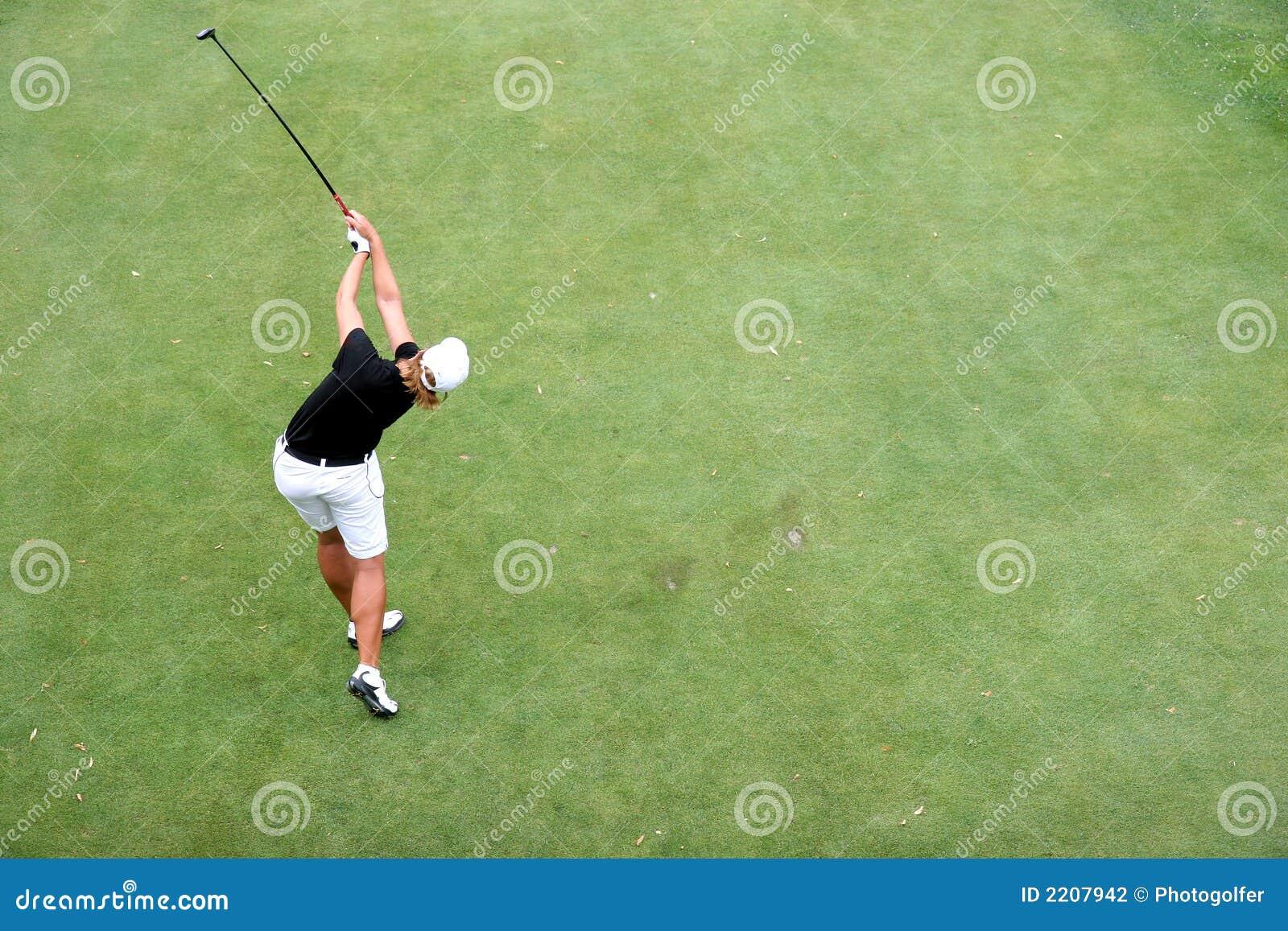Lady golf swing in evian