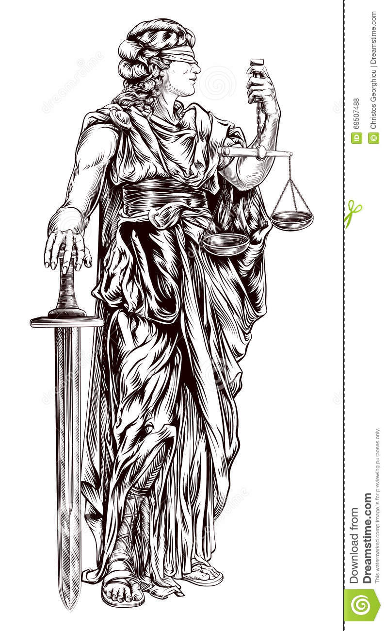 Lady Justice stock vector. Illustration of justise ...