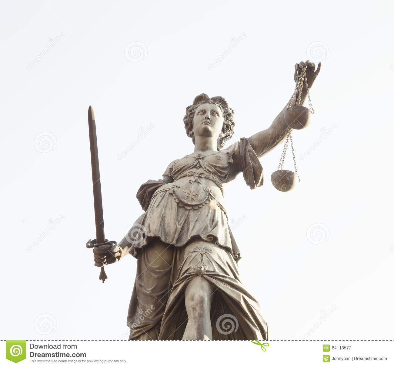 Lady Justice statue in Frankfurt am Main city, Germany