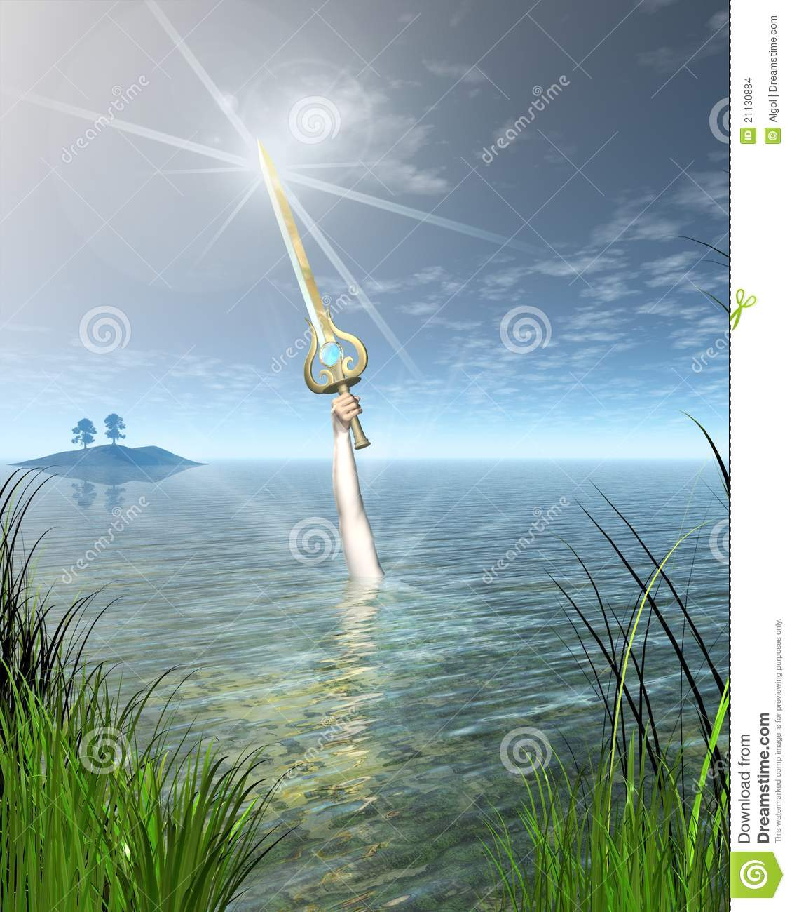 The Lady Of Lake Holding Sword Excalibur Stock