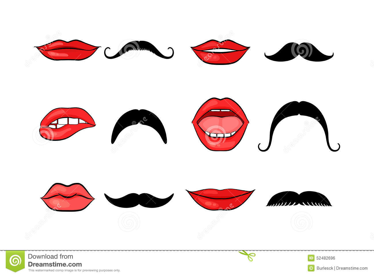 Lady Lips And Gentleman Mustaches Stock Vector Image