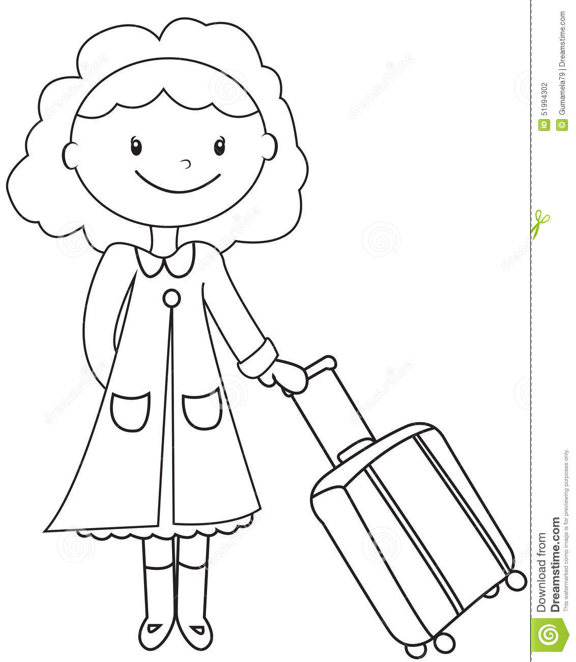 Lady With A Luggage Coloring Page Stock Illustration Illustration