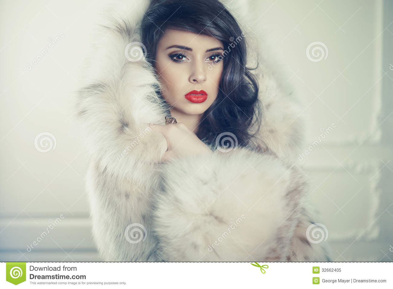 Lady In Luxurious Fur Coat Stock Photography - Image: 32662402