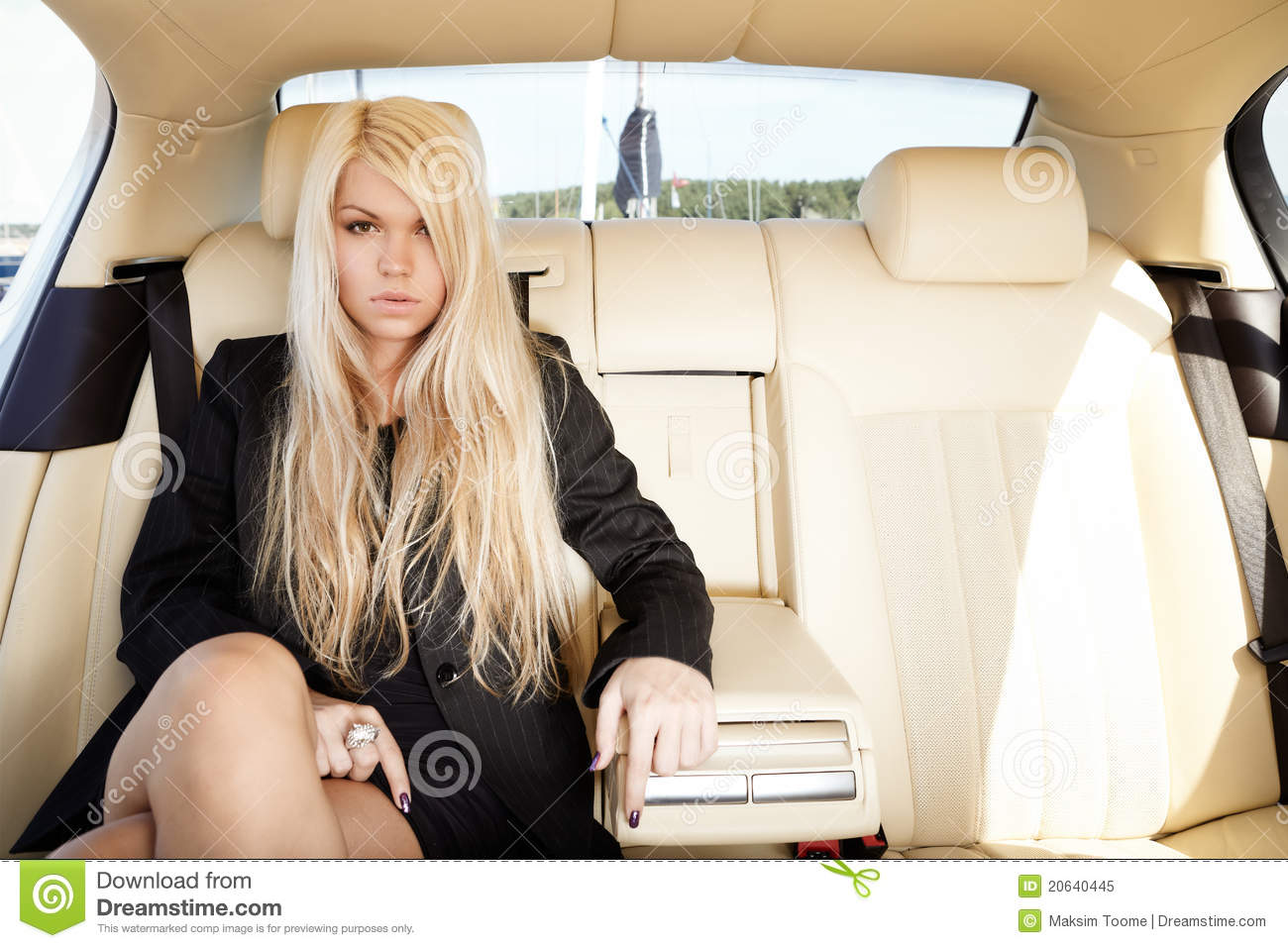 Lady In A Luxury Car Stock Image Image Of Black Backseat
