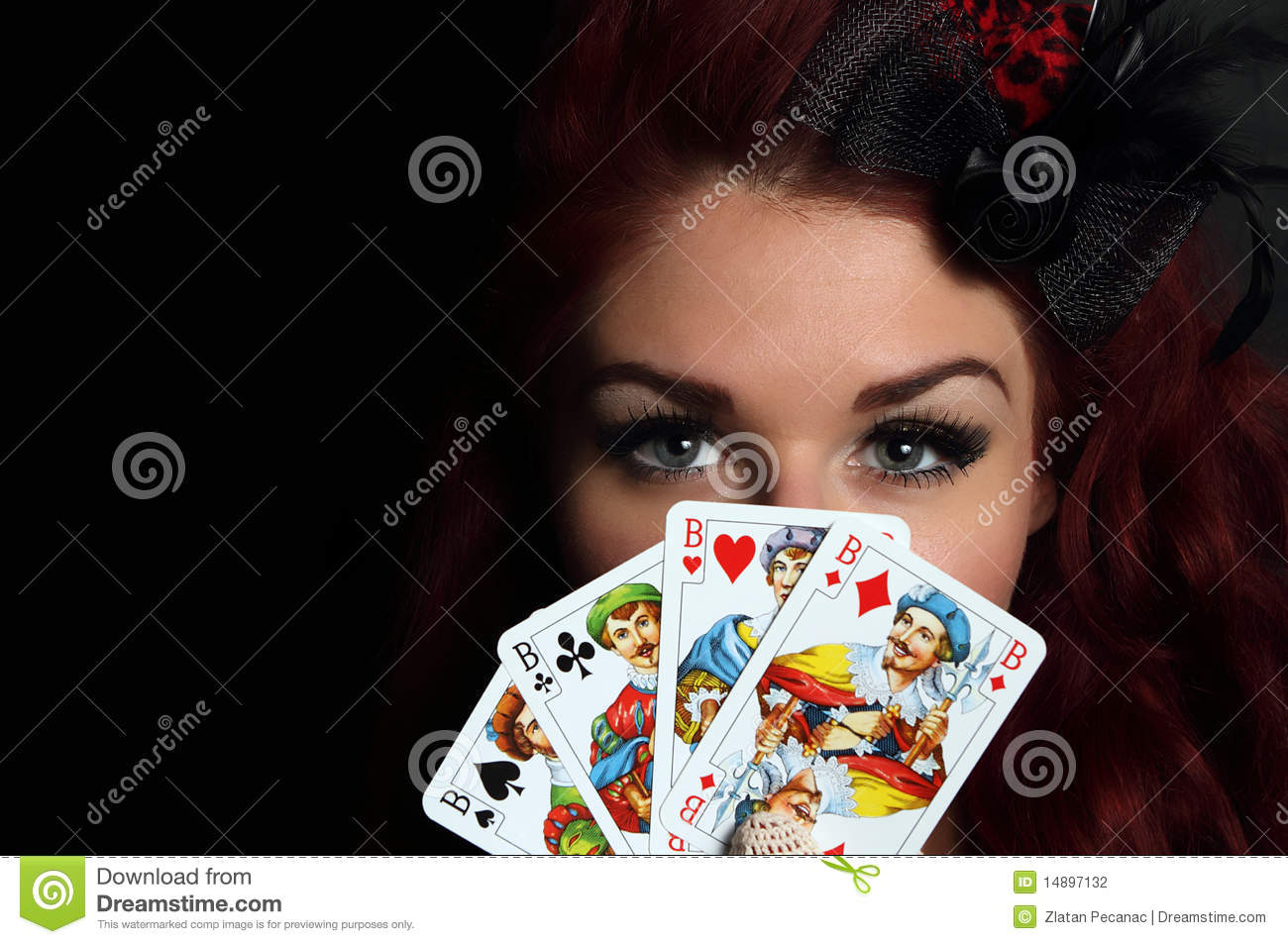Lady with playing cards