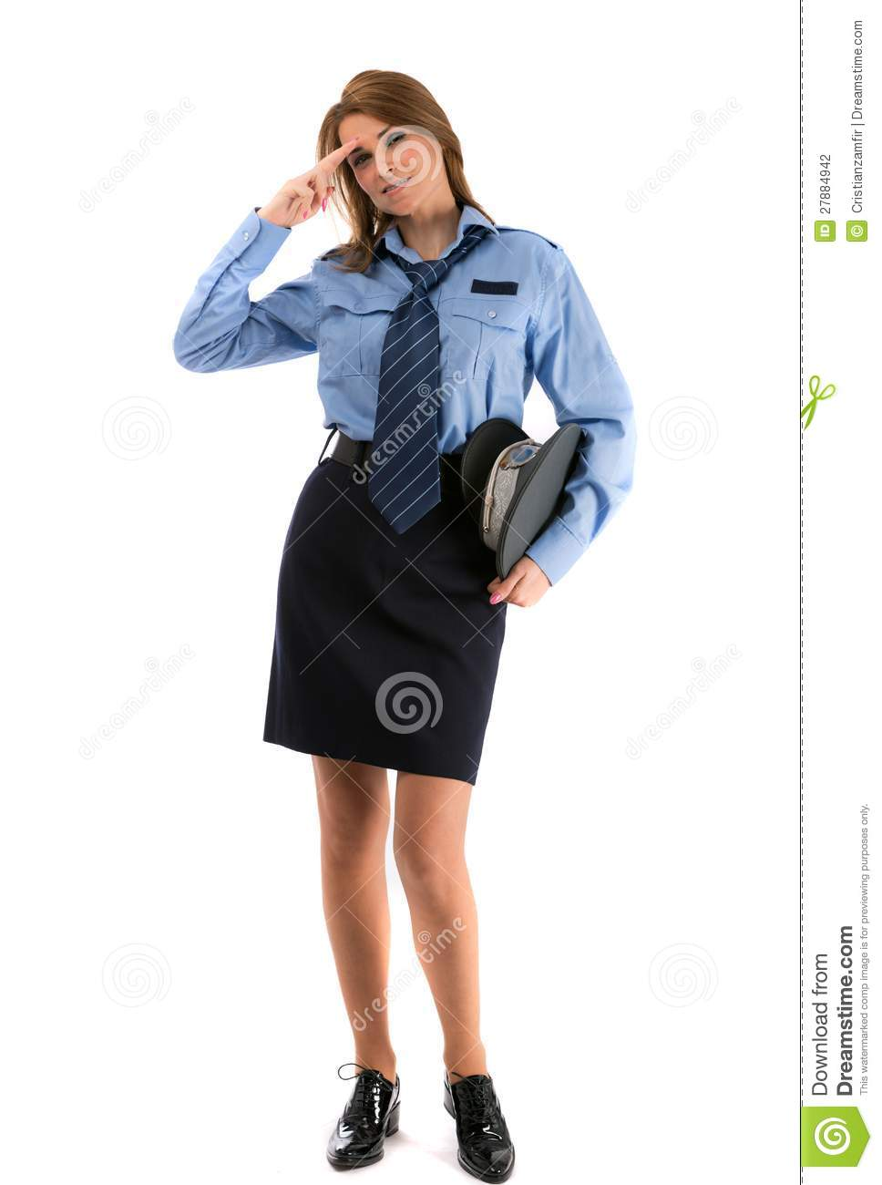 Lady Police Officer On A White Backgro Stock Photo Image