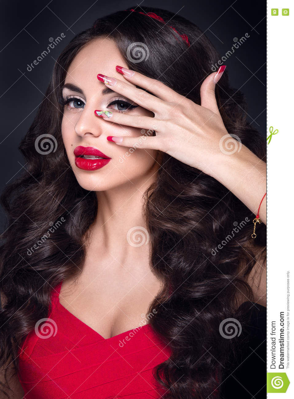 Lady In Red Beautiful Woman Portrait In Red Dress With Red Lips