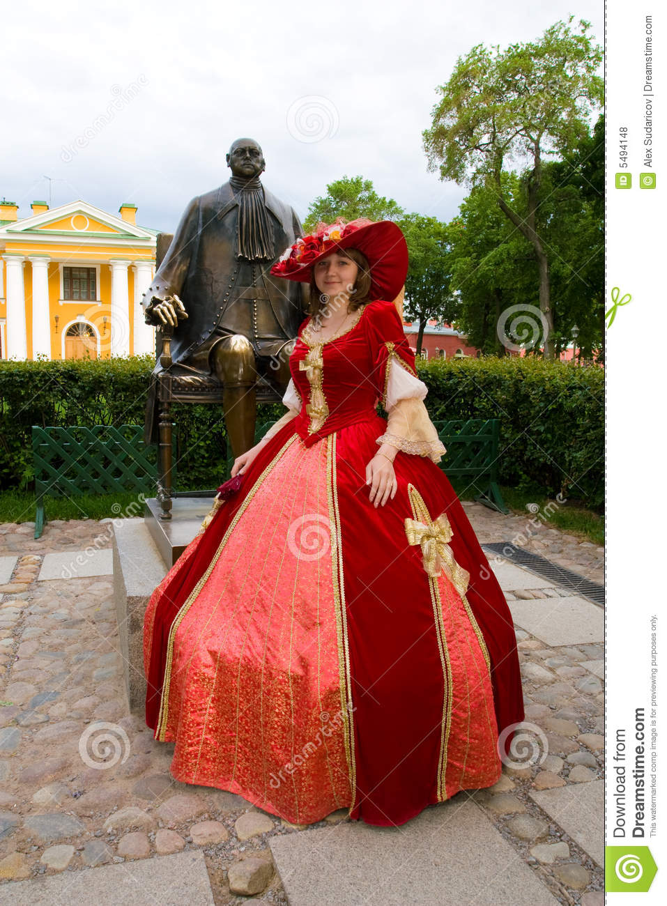 lady in red dress stock photo image of peter tradition 5494148. Black Bedroom Furniture Sets. Home Design Ideas