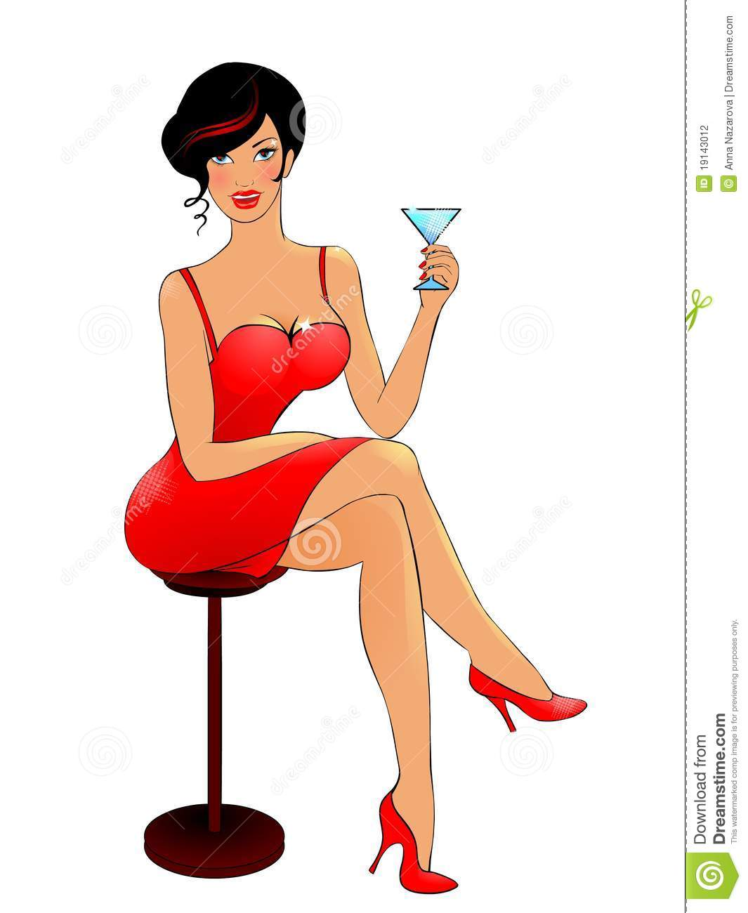 Lady In Red Drinking Cocktail Stock Photography