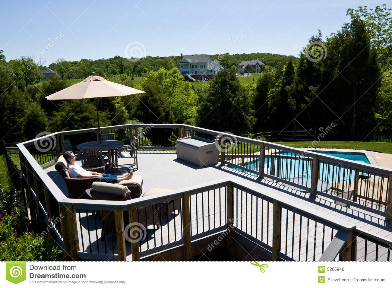 Lady relaxing on a deck