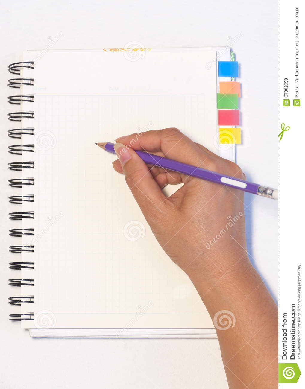 Download Lady's Hand Holding Pencil Ready To Write An Empty Notebook With Sticky Note Memo Stock Photo - Image of sticky, girl: 67002958