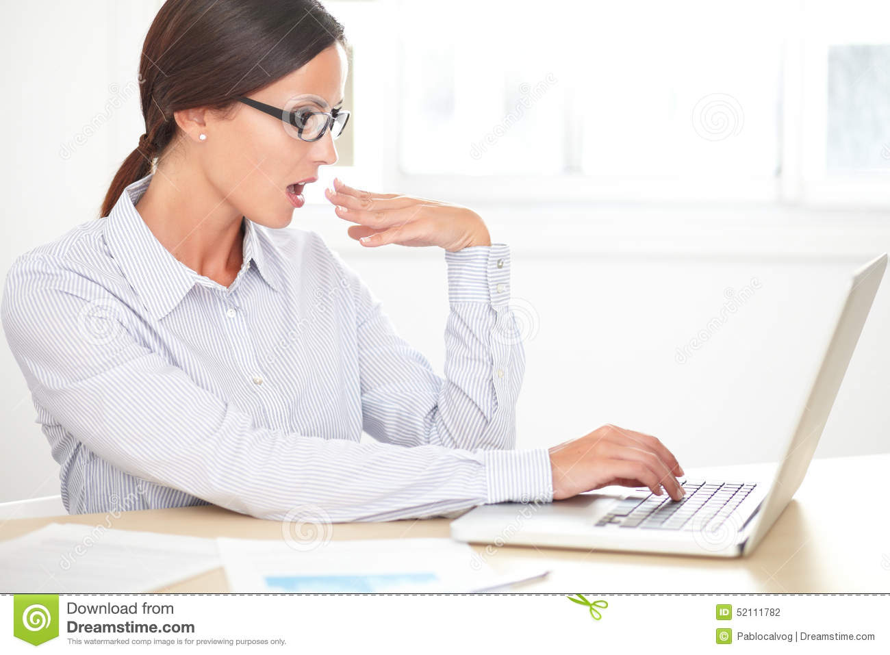 Secretary With Glasses Working On Desk Stock Photo - Image: 52111782