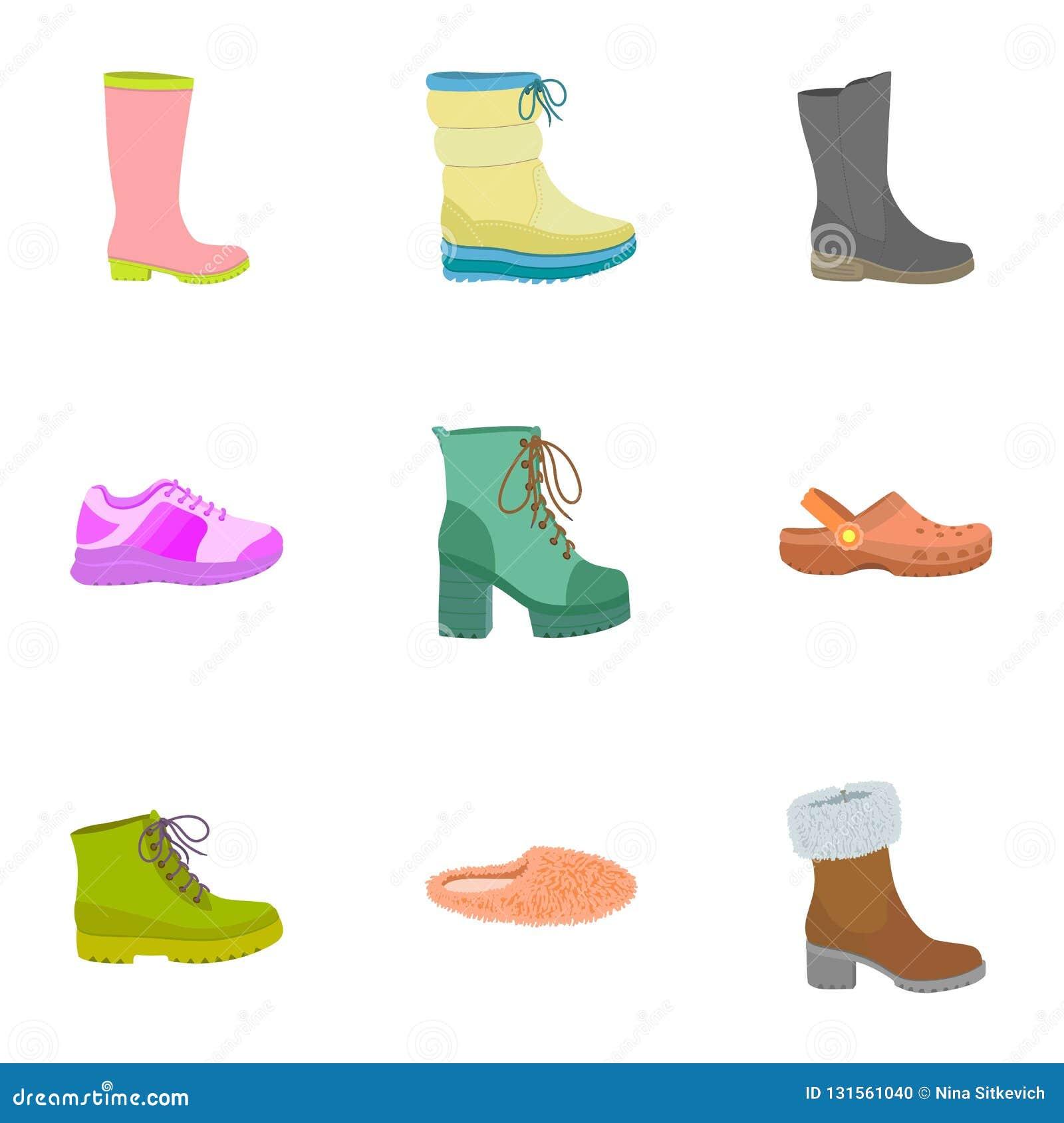 Lady shoes icon set, flat style