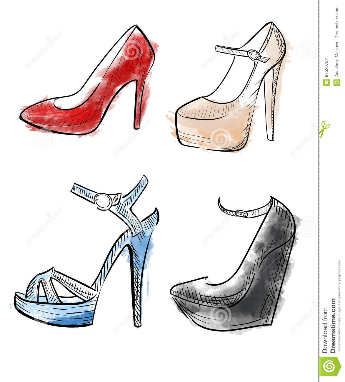 51edf5ce7f3a Lady shoes Sketched woman s shoe illustration collection of fashion high  heels shoes