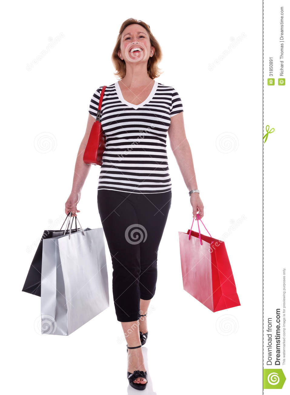Lady Shopper Carrying Shopping Bags