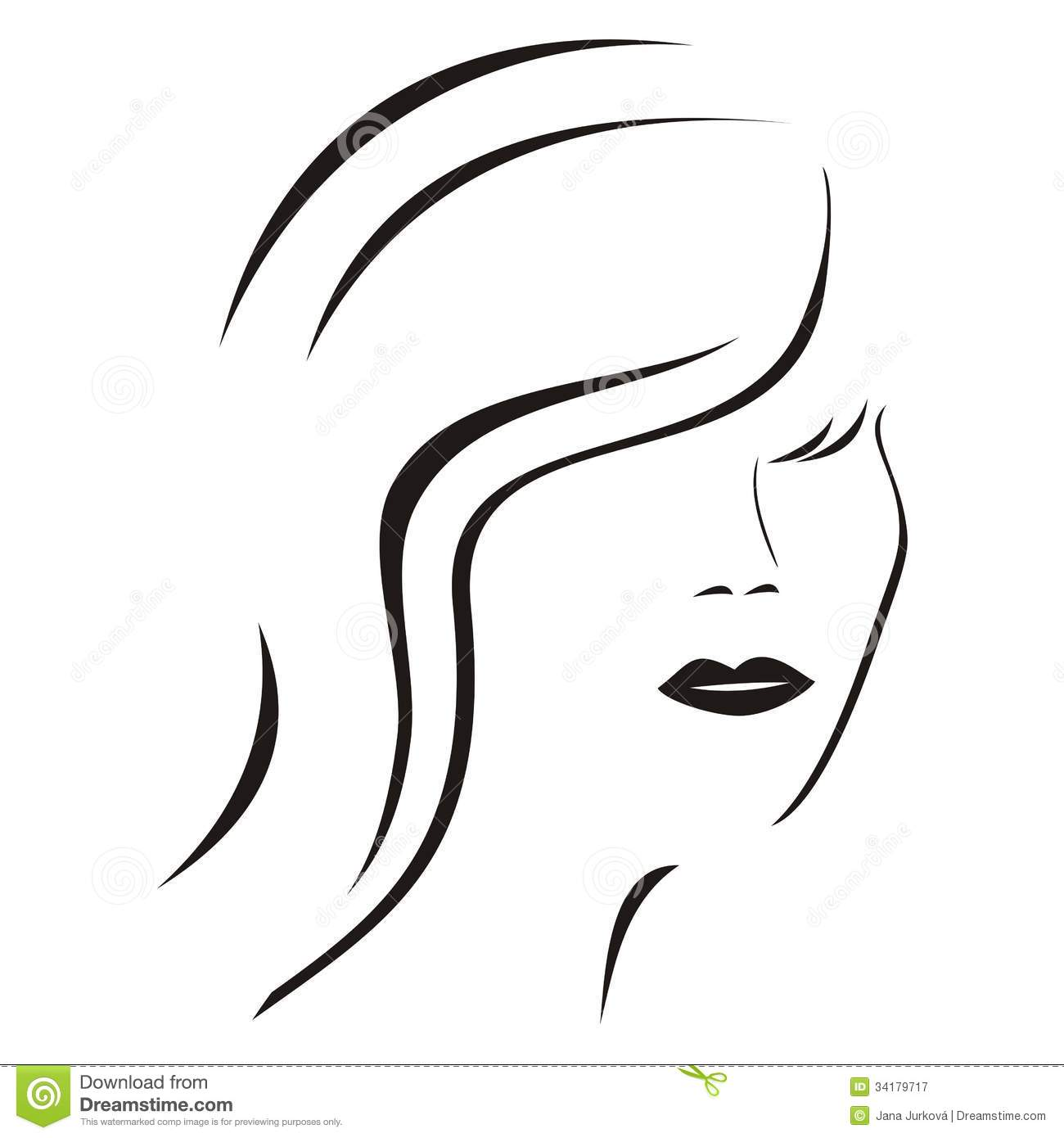 Line Drawing Lady Face : Lady silhouette stock vector illustration of human