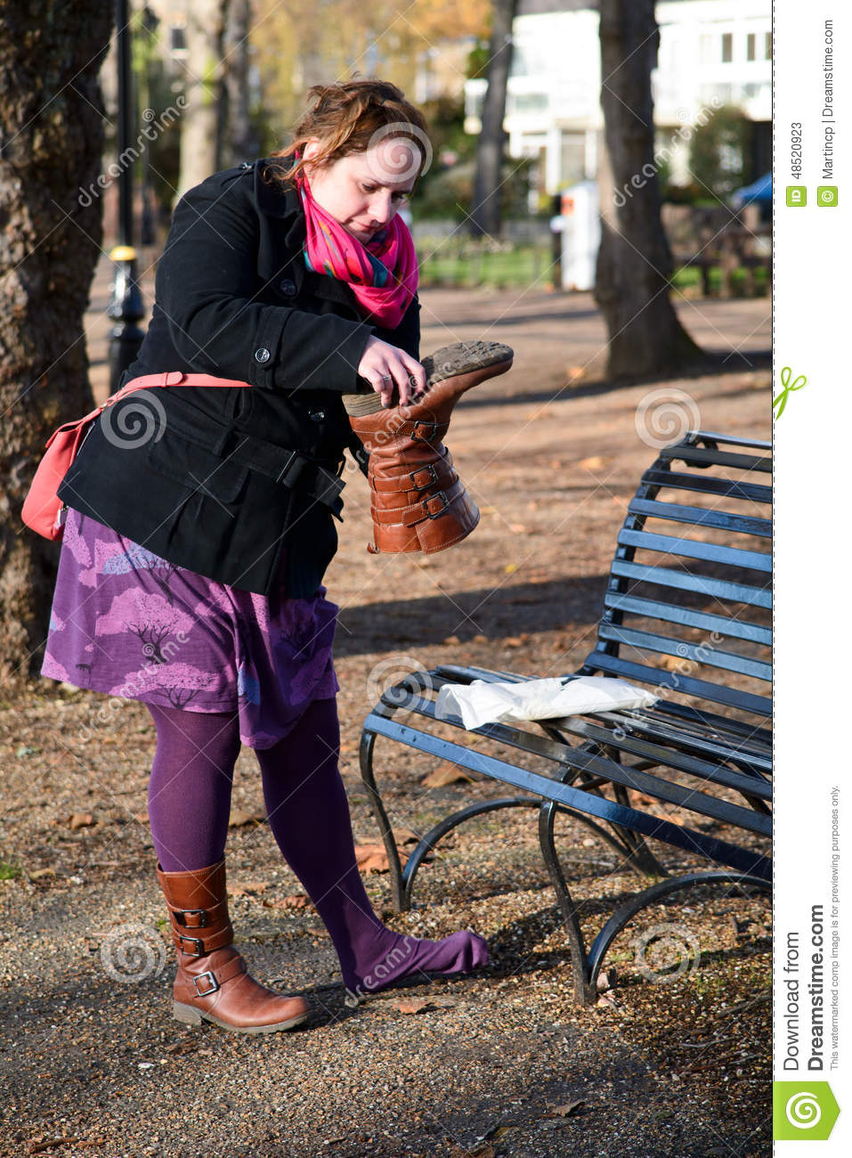 Lady With Stone In Her Boot Stock Image Image Of Outside
