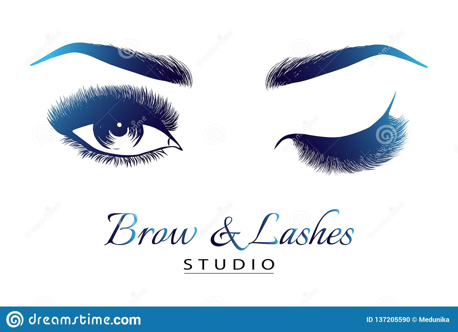 f87249ff295 Lady Stylish Eye And Brows With Full Lashes Stock Vector ...